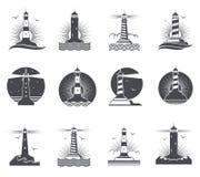 Latarnia morska rocznika wektorowe morskie etykietki Latarnie morskie i ocean fala retro nautyczni logowie ustawiający royalty ilustracja