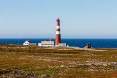 Latarnia morska Slettnes. Obrazy Royalty Free