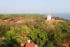 Latarnia morska w Aguada forcie, lokalizować blisko Sinquerim plaży, Goa Obraz Royalty Free