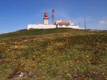 Latarnia morska w Cabo da Roca blisko Sintra, Portugalia, kontynentalny Europe's westernmost punkt Zdjęcie Stock