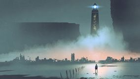 Latarnia morska w futurystycznym świacie royalty ilustracja