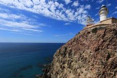 Latarnia morska w Naturalnym parku Cabo de Gata, Nijar -, Almeria, Hiszpania Obraz Stock