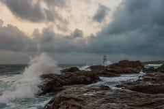 Latarnia morska w porcie Ahtopol, Czarny morze, Bułgaria Fotografia Royalty Free