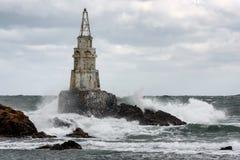 Latarnia morska w porcie Ahtopol, Czarny morze, Bułgaria Obrazy Stock