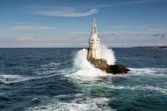 Latarnia morska w porcie Ahtopol, Czarny morze, Bułgaria Obraz Royalty Free