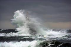 Latarnia morska w porcie Ahtopol, Czarny morze, Bułgaria Zdjęcie Royalty Free