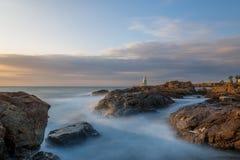 Latarnia morska w porcie Ahtopol, Czarny morze, Bułgaria Zdjęcia Stock