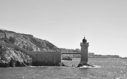 Latarnia morska w starym porcie Marseille, Francja Zdjęcie Stock