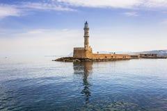 Latarnia morska w starym schronieniu Chania na Crete Zdjęcia Stock