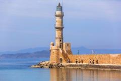 Latarnia morska w starym schronieniu Chania na Crete Obraz Stock