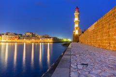 Latarnia morska w starym schronieniu Chania na Crete Zdjęcie Royalty Free