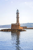 Latarnia morska w starym schronieniu Chania na Crete Fotografia Stock