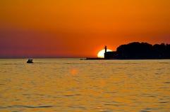 Latarnia morska w Zadar epopei zmierzchu Zdjęcie Royalty Free