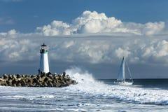 Latarnia morska Walton na Santa Cruz brzeg fotografia royalty free