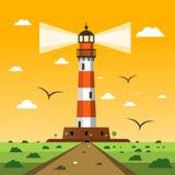 Latarnia morska Wektorowa zmierzchu krajobrazu kreskówka ilustracja wektor