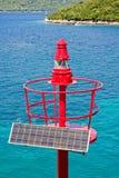 latarnia morska wierzchołek zasilany słoneczny Obrazy Stock
