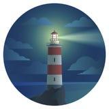 Latarnia morska z krajobrazem w round ikonie Zdjęcie Stock