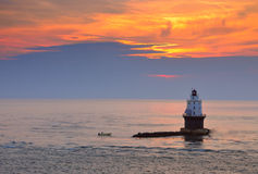 latarnia morska zmierzch Obrazy Royalty Free