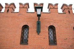 Latarnia uliczna na ścianie Moskwa Kremlin Obrazy Stock