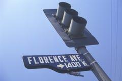 Latarnia uliczna przy Florencja aleją, Południowy Środkowy Los Angeles, Kalifornia Zdjęcia Royalty Free