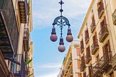 Latarnie uliczne w Barcelona, Hiszpania Zdjęcia Royalty Free