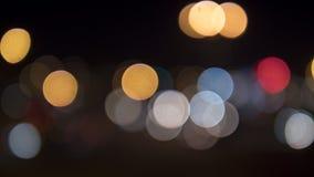 Latarnie uliczne zamazywać, okregów światła przy nocą obrazy royalty free