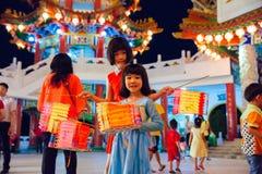 Latarniowa parada przy Thean Hou świątynią, Kuala Lumpur Obrazy Royalty Free