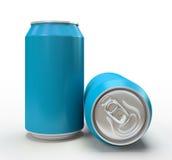 Latas azuis do alluminium no fundo branco Fotografia de Stock