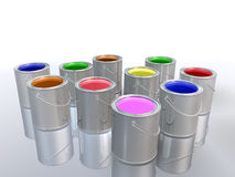 Latas coloridas da pintura Imagens de Stock