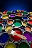Latas coloridas de la pintura Foto de archivo libre de regalías