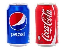 Latas da coca-cola e do Pepsi Imagens de Stock Royalty Free