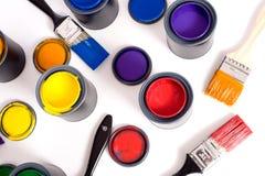 Latas da pintura fotografia de stock