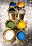 Latas da pintura e do ouro Fotografia de Stock