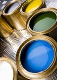 Latas da pintura e do ouro Imagem de Stock Royalty Free