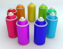 Latas de aerosol Imagen de archivo libre de regalías