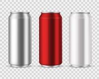 Latas de aluminio Bebidas en blanco de la poder del metal, bebida de la energía de la limonada de la cerveza de la soda del agua  libre illustration