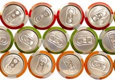 Latas de aluminio de la bebida del color Fotografía de archivo