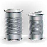 Latas de aluminio del alimento Fotografía de archivo libre de regalías