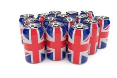 Latas de cerveja de alumínio da bandeira de Union Jack Reino Unido isoladas em uma ilustração branca do fundo 3d ilustração stock