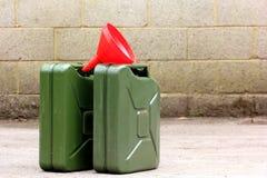Latas de la gasolina Fotografía de archivo libre de regalías