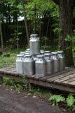 Latas de la leche Foto de archivo libre de regalías