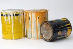 Latas de la pintura del metal Imagenes de archivo