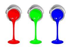 Latas de la pintura del RGB Foto de archivo libre de regalías