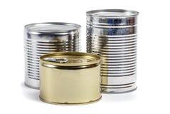 Latas de lata do alimento imagens de stock