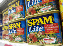 Latas de Lite do Spam do tipo de Hormel foto de stock