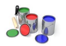 Latas de pintura Imagen de archivo libre de regalías