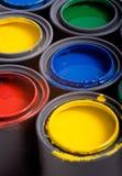 Latas de pintura Foto de archivo libre de regalías