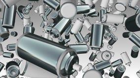 Latas de pulverizador abstratas da cor de voo no branco e no metal ilustração stock