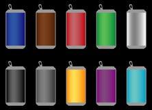 Latas de soda de alumínio de muitas cores ilustração stock