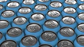 Latas de soda azules grandes en el fondo blanco Fotografía de archivo libre de regalías